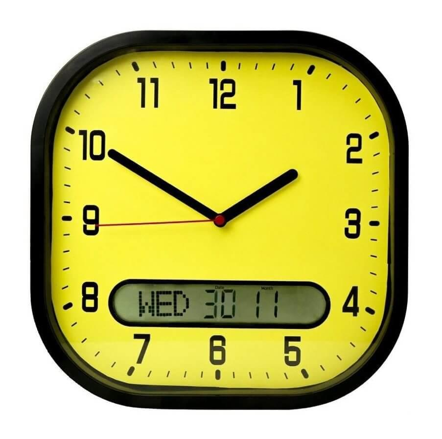 High Contrast Day-Date Wall Clock - Yellow