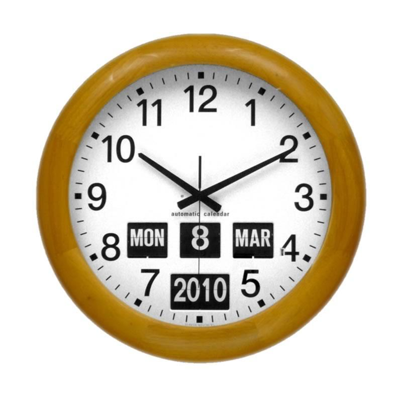Large Wood Bezel Automatic Calendar Clock - 18.6 Inches
