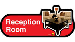 Reception Room Sign inRed
