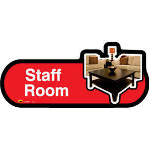 Staff Room Sign inRed