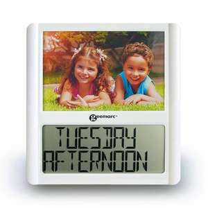 VISO5 Battery Powered Calendar Clock with Photo Frame
