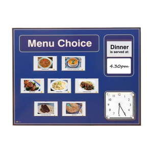 Pictorial Menu Board for Care Homes & NHS in Blue