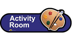Activity Room Sign in Blue