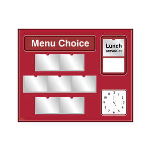 Pictorial Menu Board for Care Homes & NHS in Red