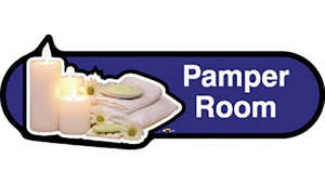 Pamper Room Sign inBlue