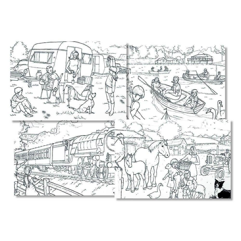 A3 Retro Colouring - Countryside