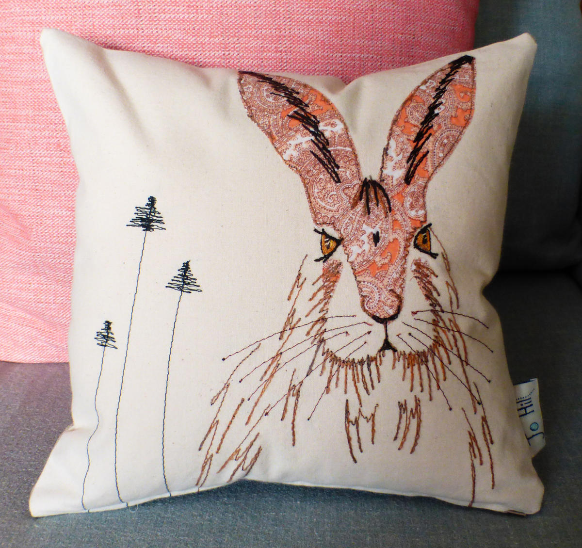 Hare cushion by Jo Hill