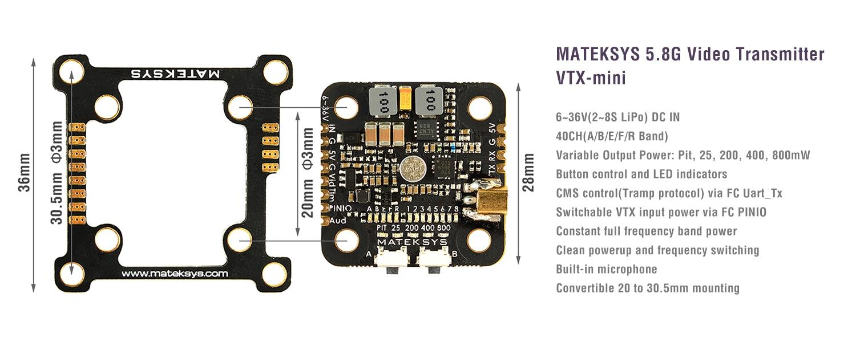 features of the matek VTXs mini