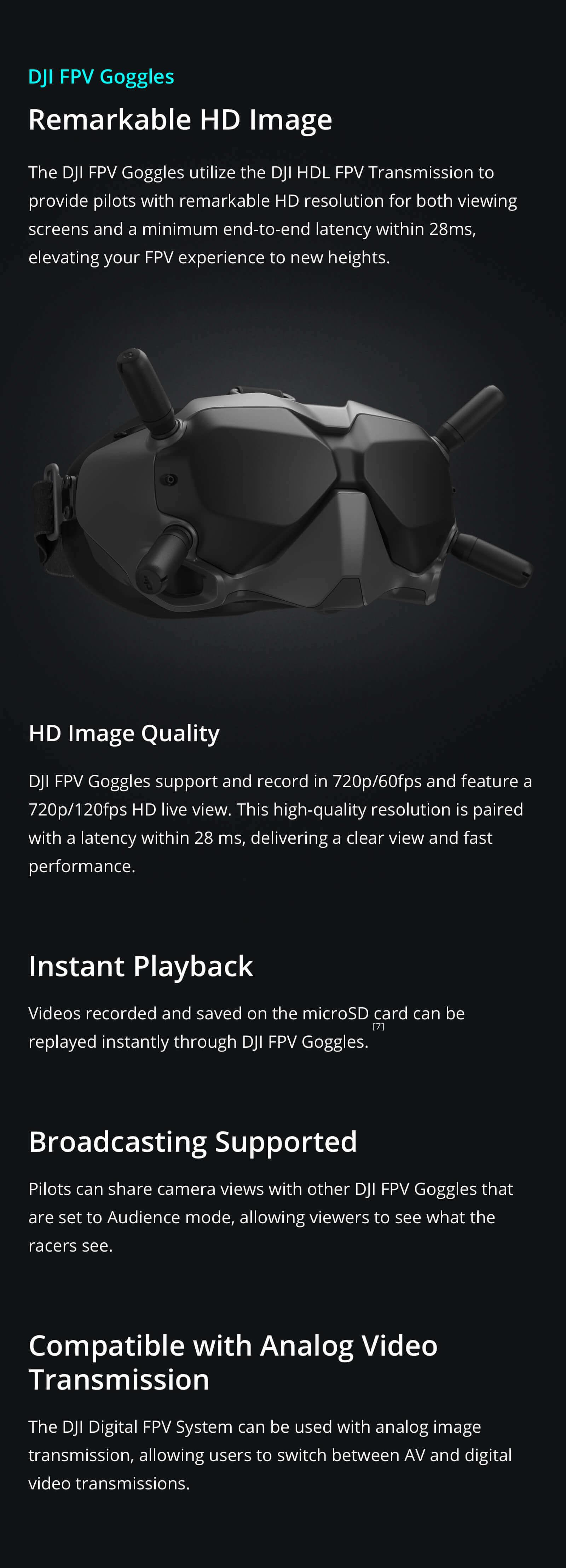 DJI FPV HD Goggles digital and analogue