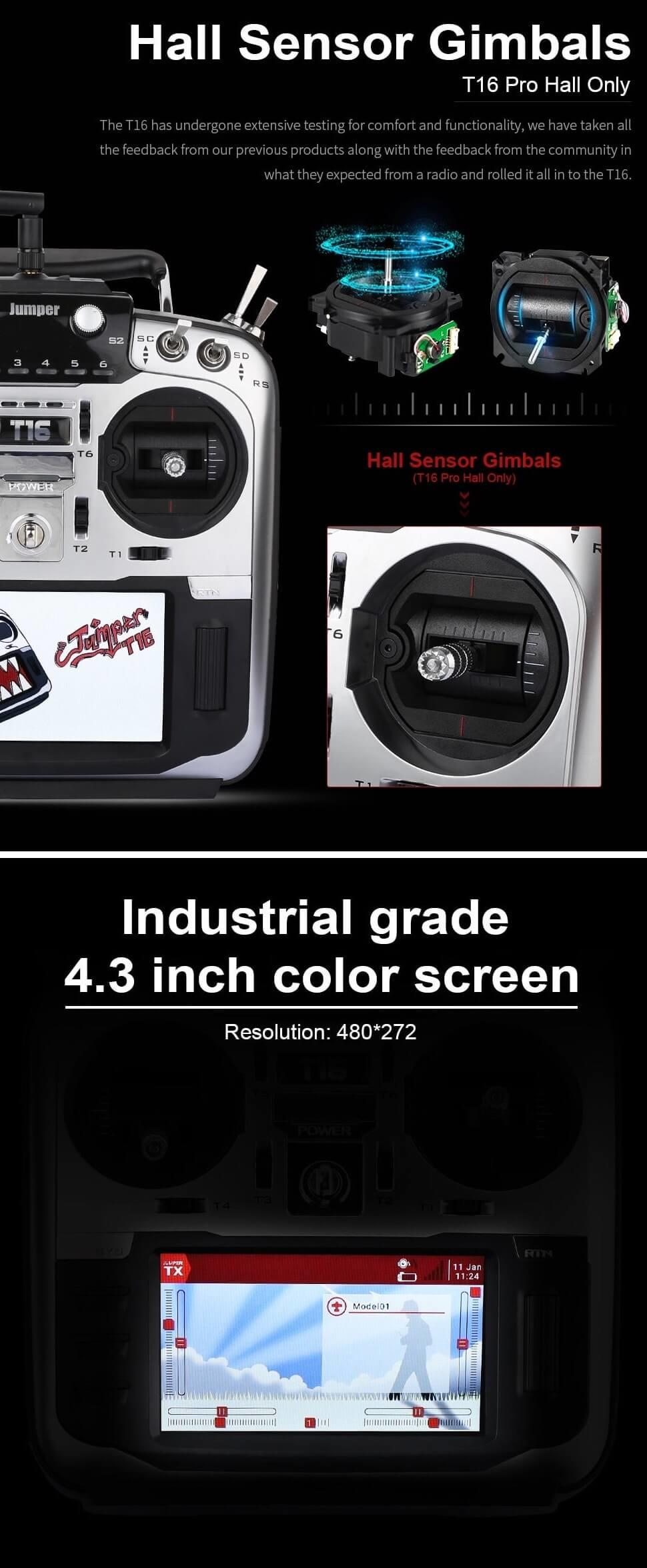 the T16 has hall sensor gimbals and LCD screen