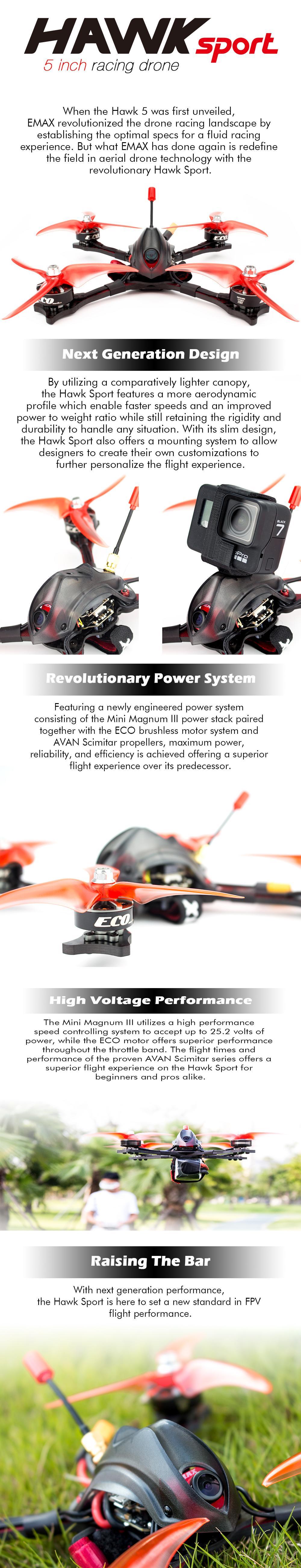 "EMAX Hawk Sport 5"" BNF Brushless FPV Drone 1700KV 2400KV"