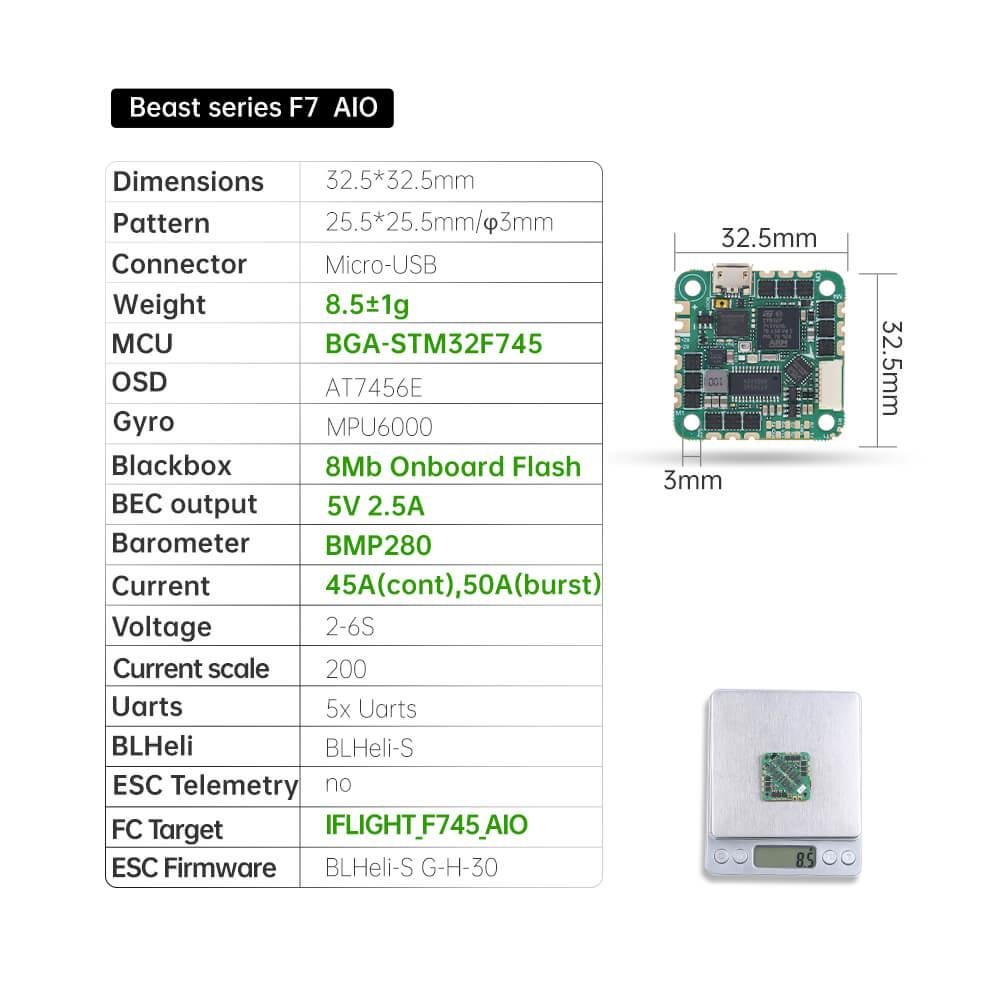 Beast F7 FC 45A AIO (MPU6000) 25.5x25.5 spec