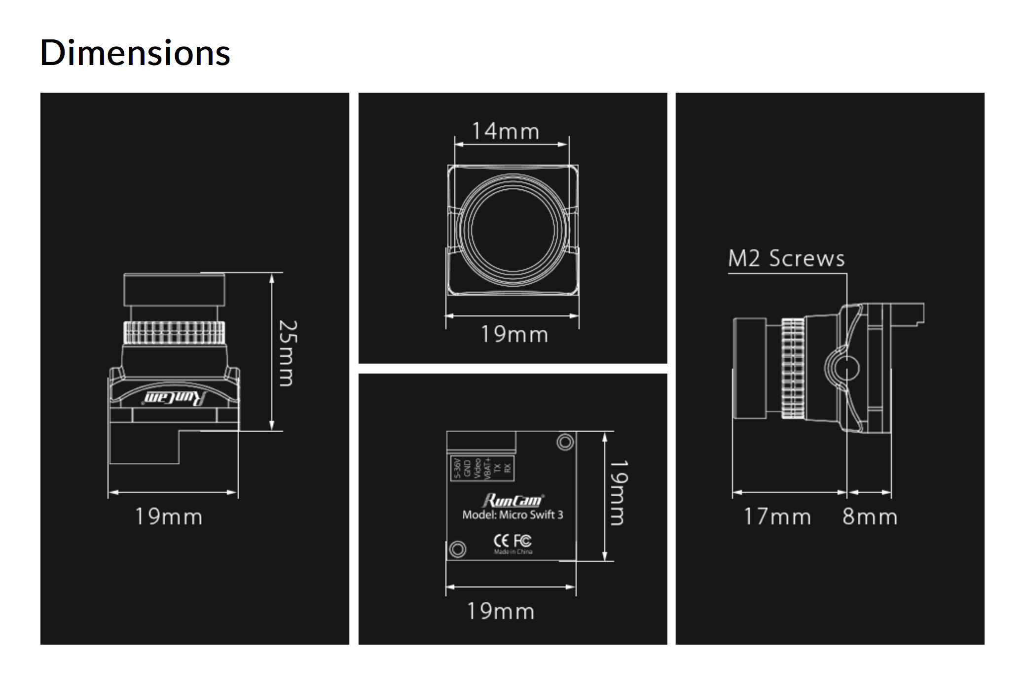Dimensions of the Runcam Micro Swift 3 fpv camera