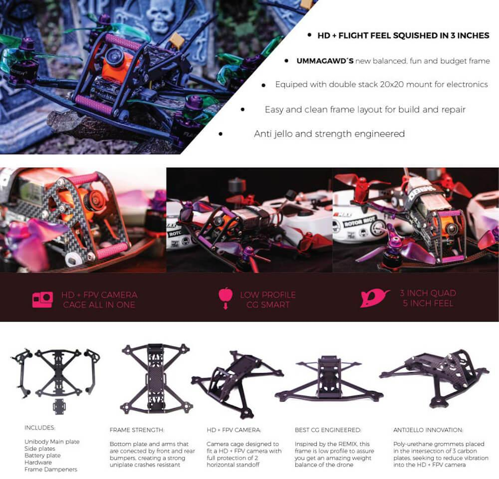"""AcroBrat Frame specs and overview 3"""" Drone racing"""