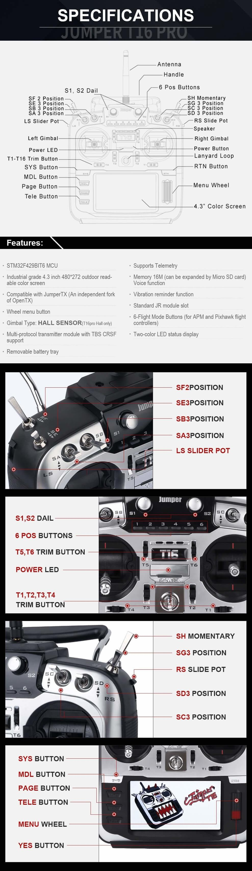 specs and switch layout on the transmitter