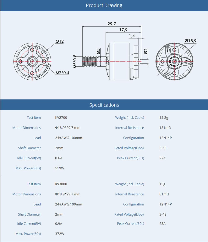 T-Motor F1507 3800KV Motor spec 2