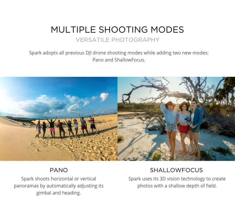 Multiple Shooting modes with the DJI Spark from our UK Store