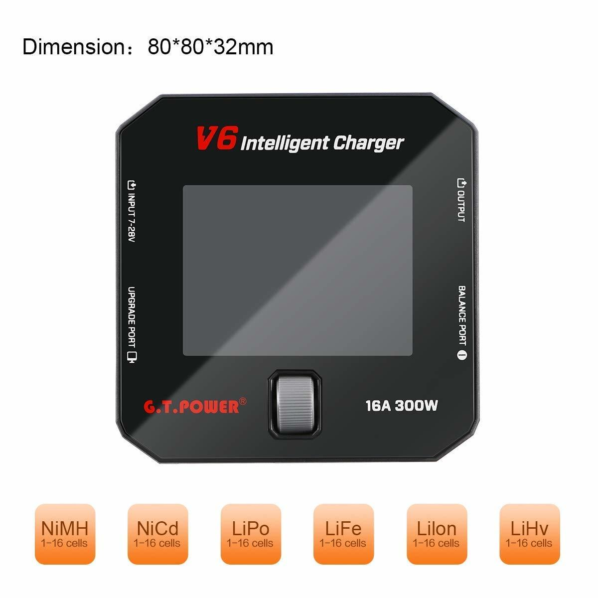 G.T Power V6 Field charger battery types it can charge.