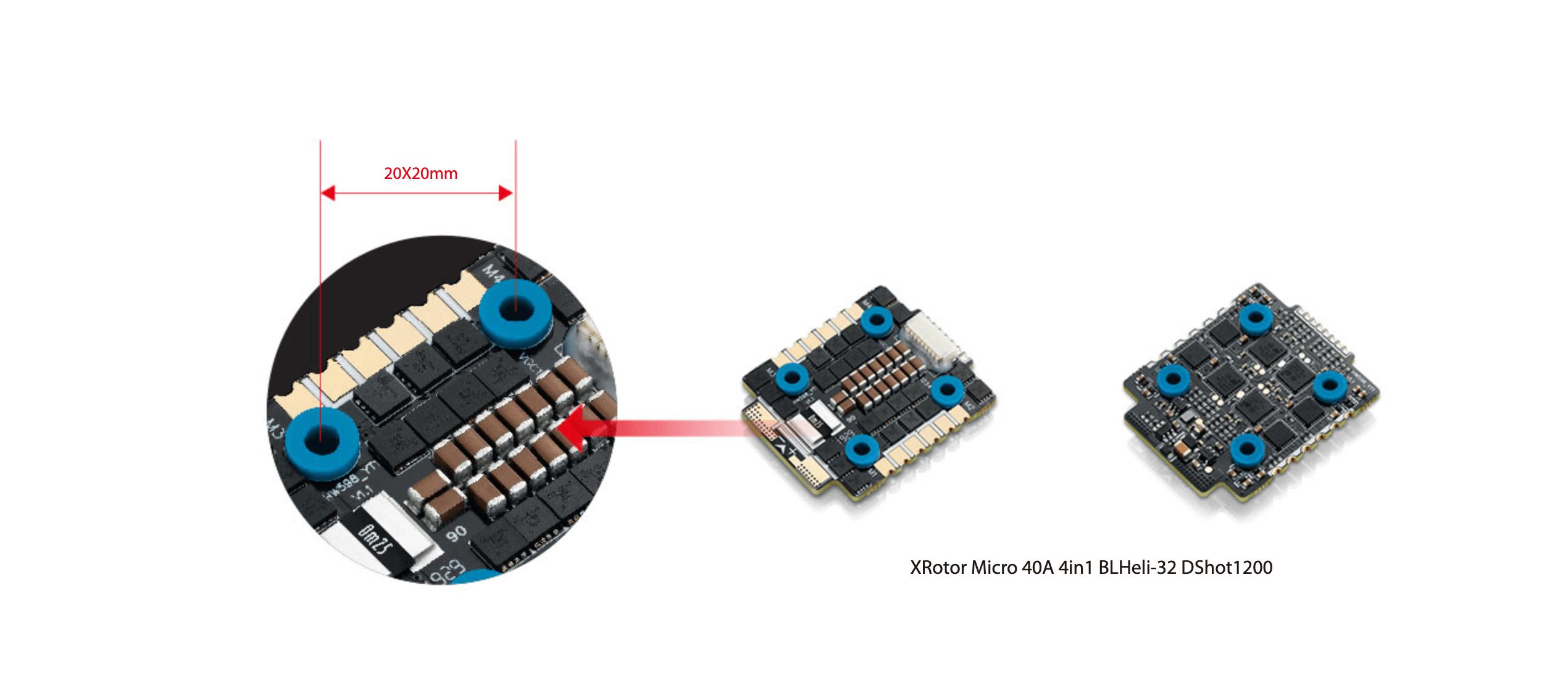 XRotor Micro 40A(20x20) 6S 4in1 ESC 20x20 size