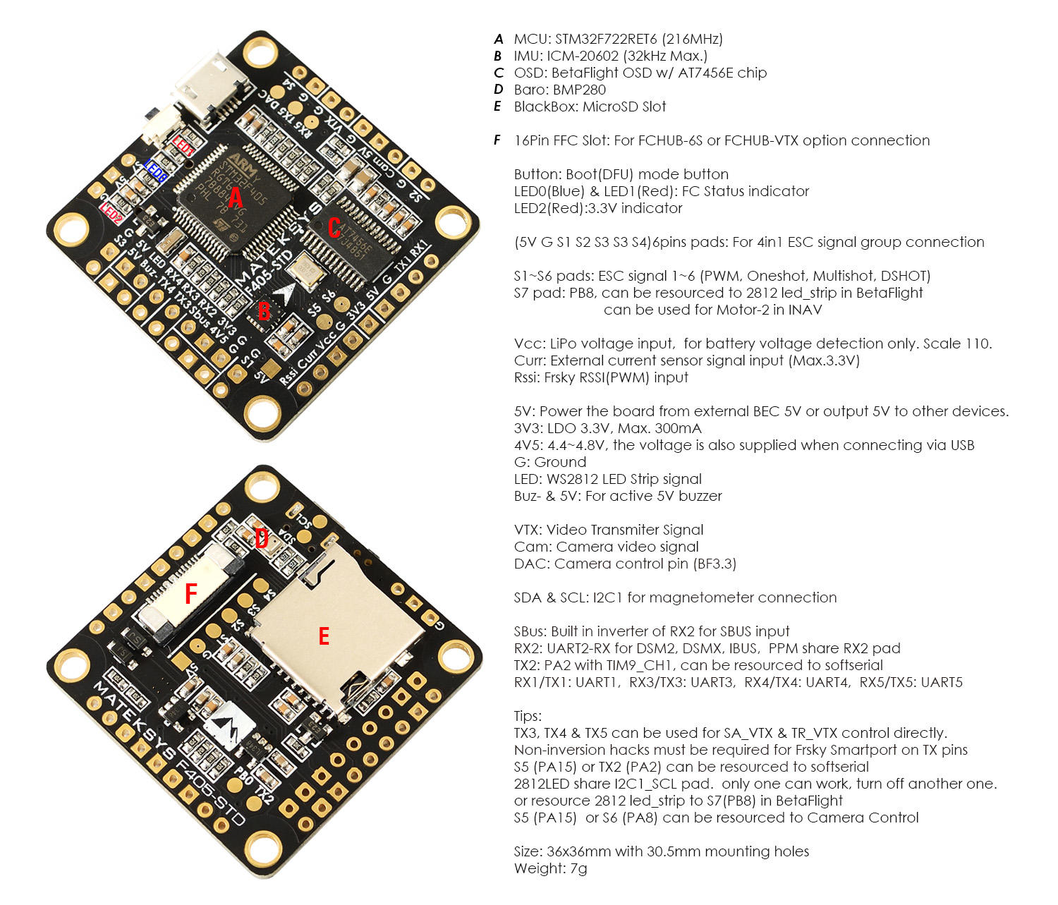 Matek F405-STD Flight controller layout