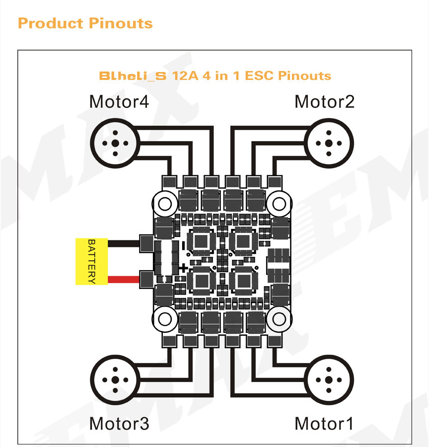 pin out for the emax magnum 4 in 1 esc