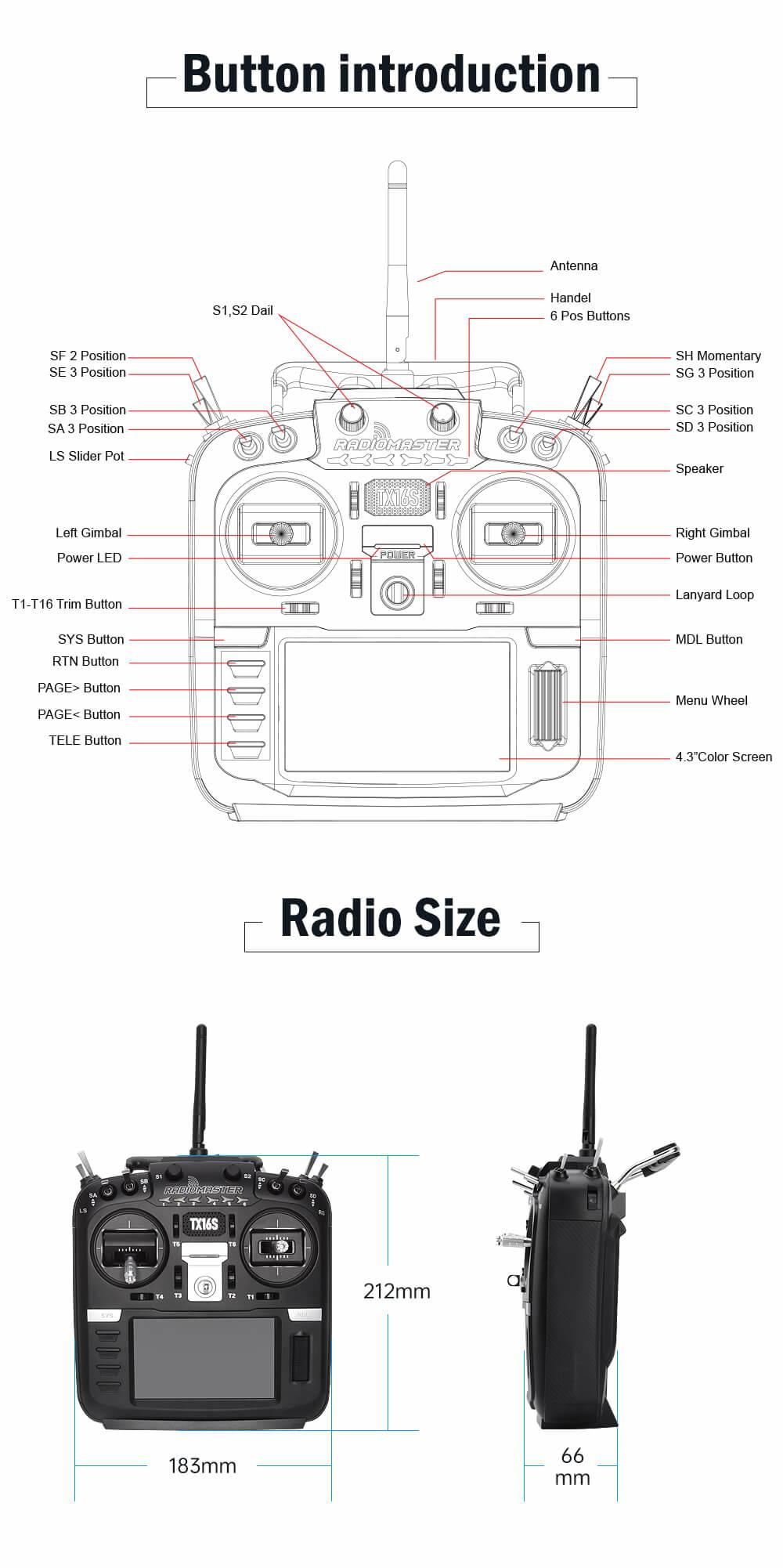 dimensions of the radiomaster tx16s transmitter