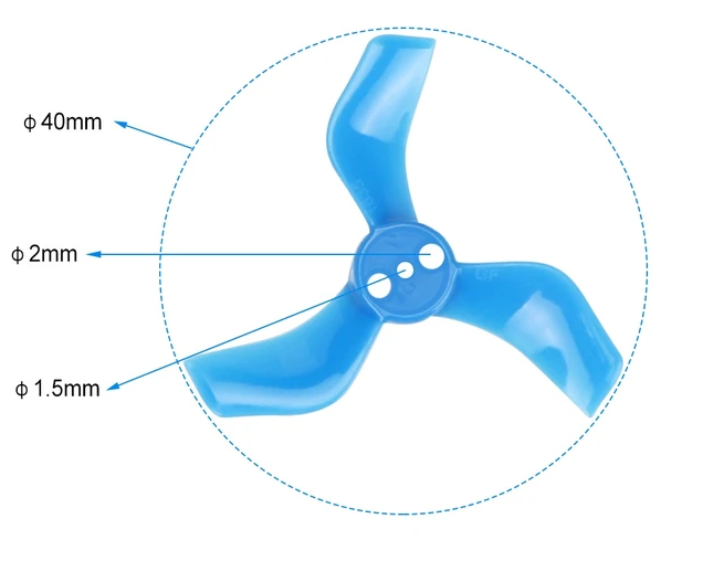 Gemfan 40mm 3-Blade Propellers (1.5mm Shaft)