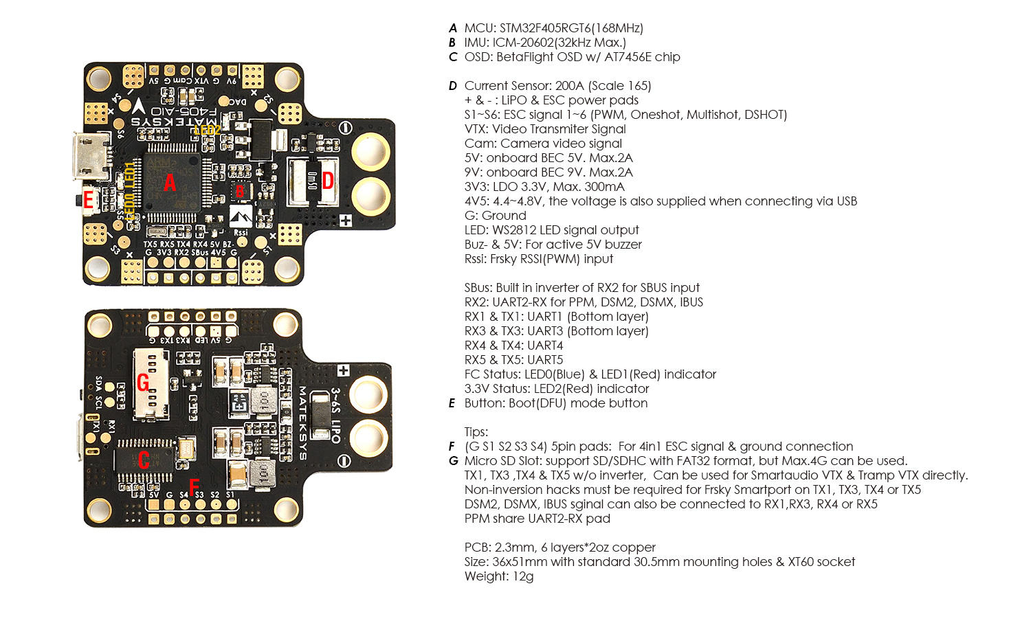 Mateksys F405 F4 Flight Controller ALL IN One