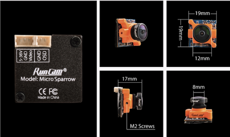 Dimensions of the runcam micro sparrow fpv camera 16:9