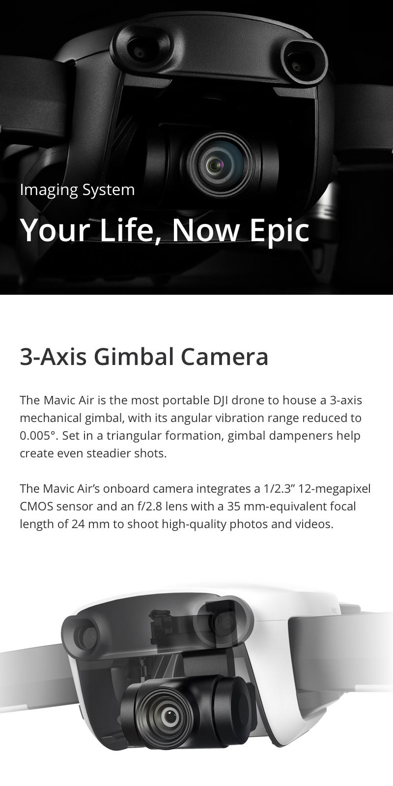3 Axis gimbal and 360 panoramas capable drone