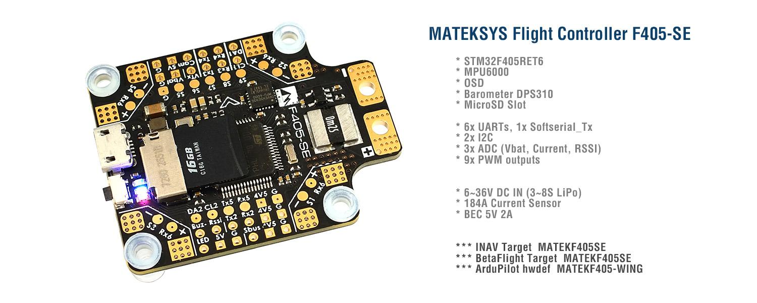 Matek f405 se iNav and Betaflight flight controller with built in pdb