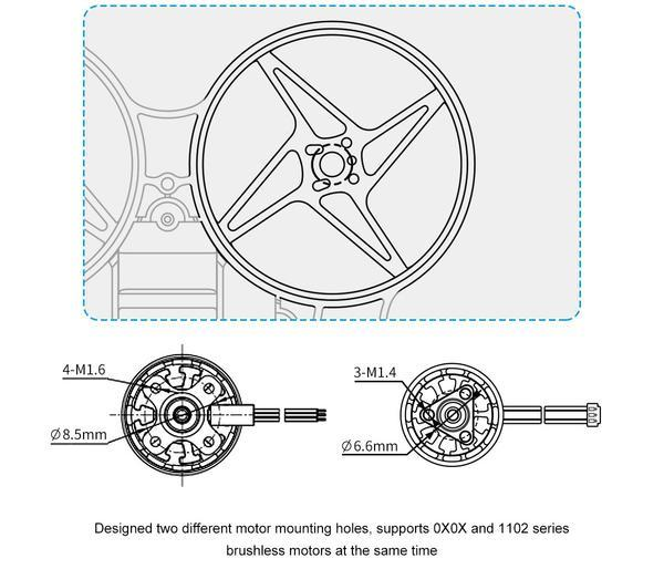 Meteor75 Micro Brushless Whoop Frame motor mounting holes