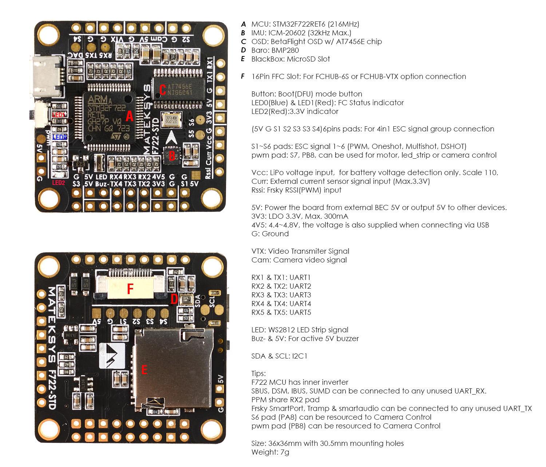 matek F722-STD FC layout and instructions