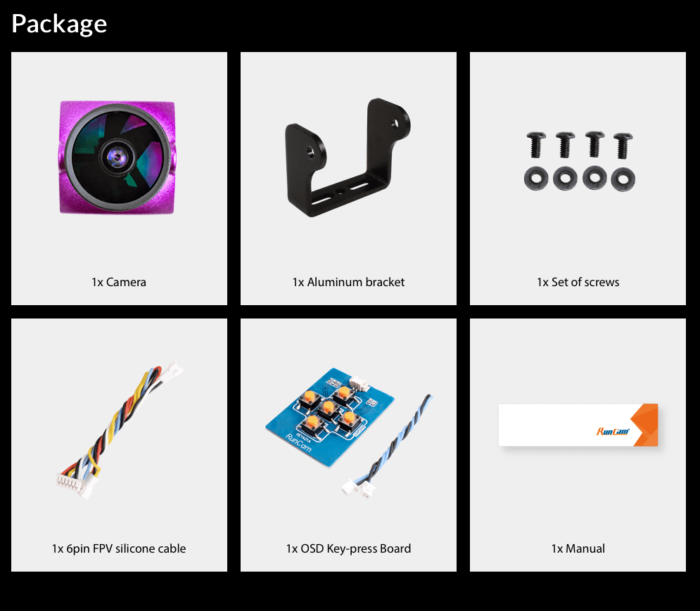 contents of the micro sparrow 2 pro by runcam