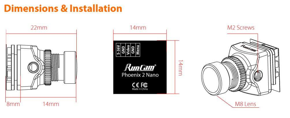 dimensions of the RunCam Phoenix 2 nano fpv camera