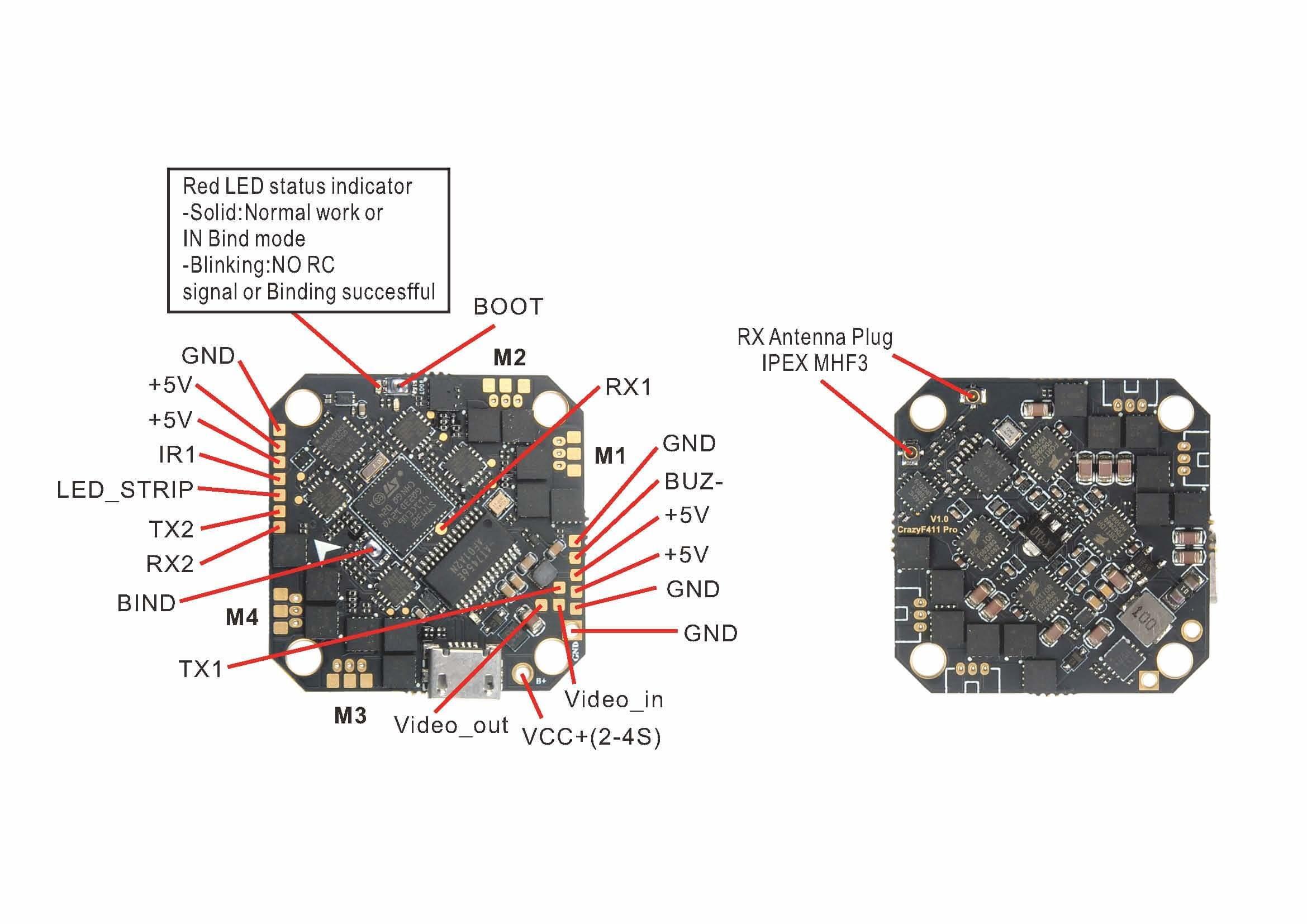 CrazyF411 AIO F4 FC wiring diagram