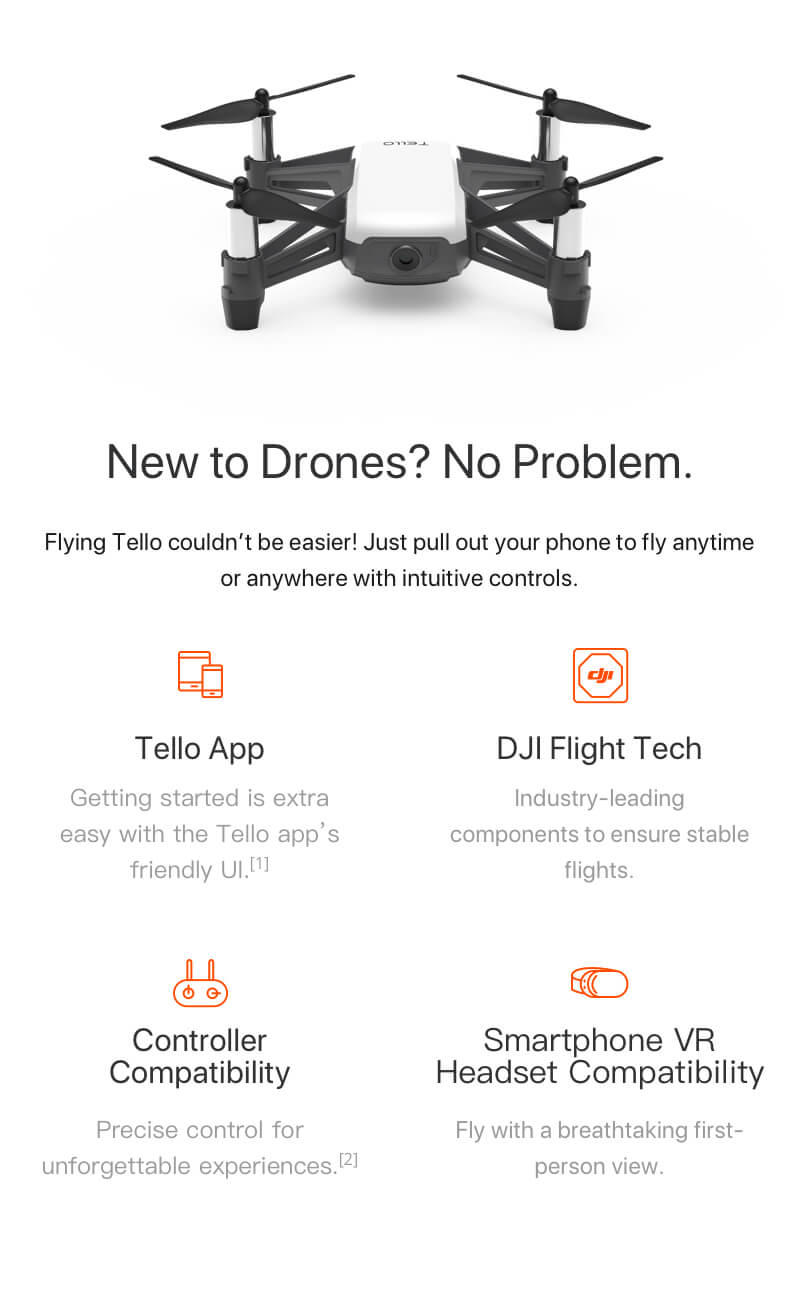 DJI Tello Comes with its own app and is VR Compatible