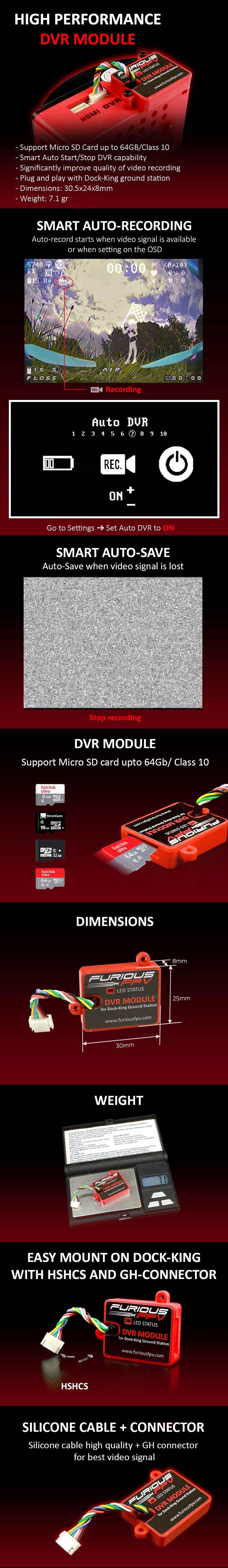 FuriousFpv Dock King DVR Module