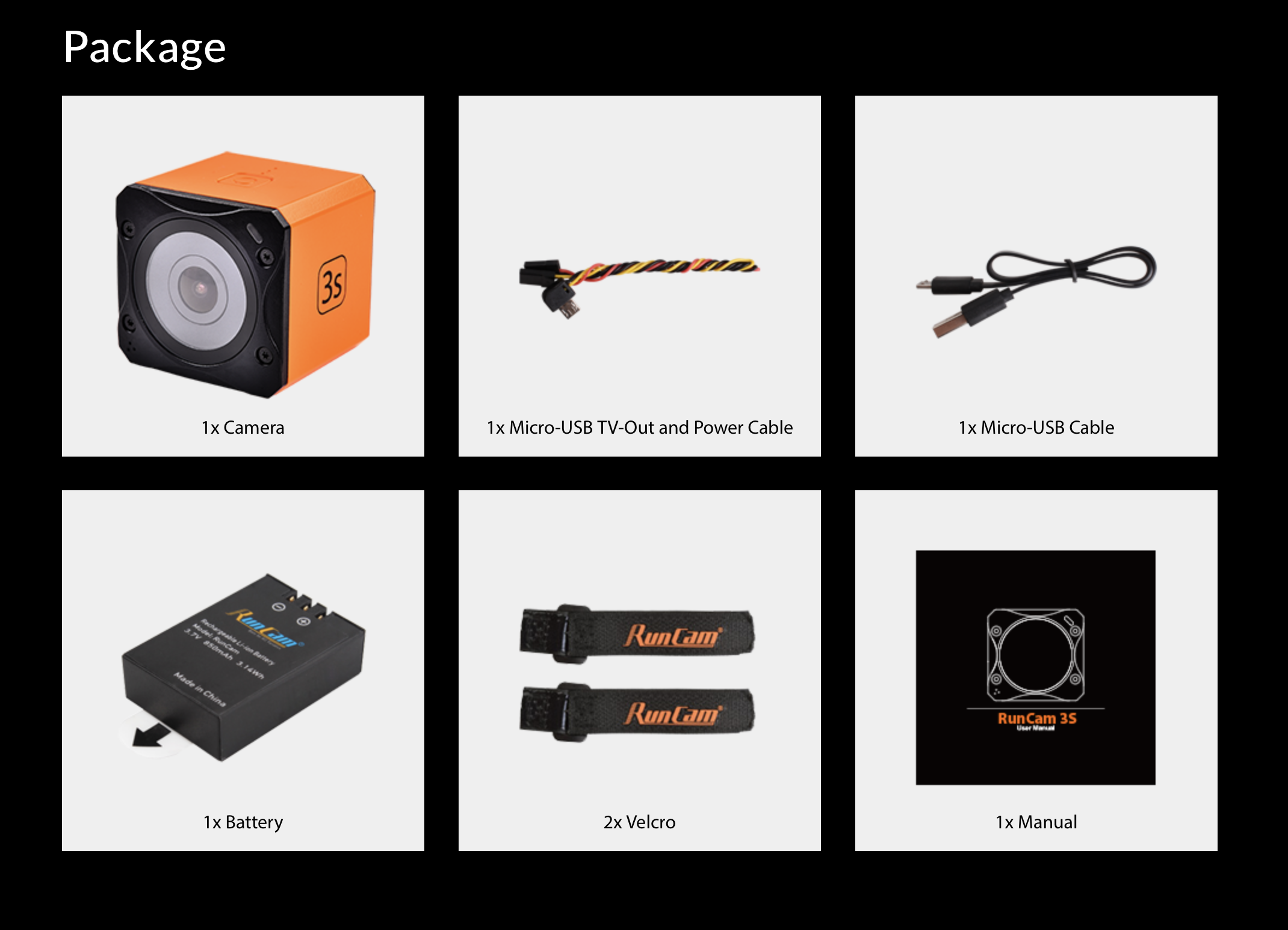 Contents and what's included in the Runcam 3S action camera