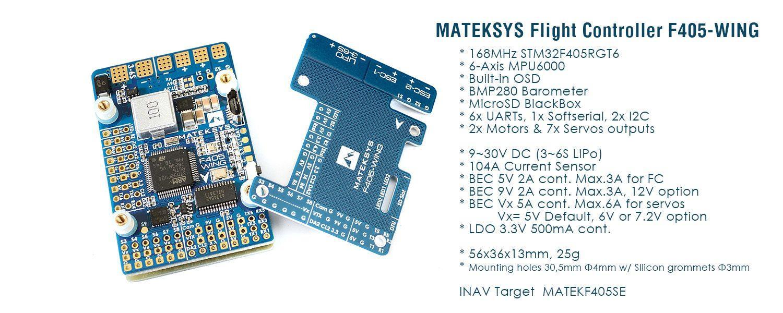 Matek F405 Wing Flight Controller main features