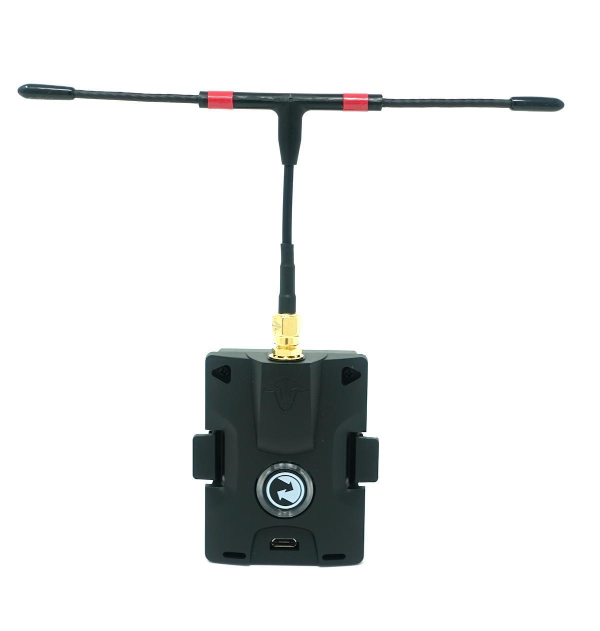 TBS Crossfire Micro TX front view with immortal t antenna