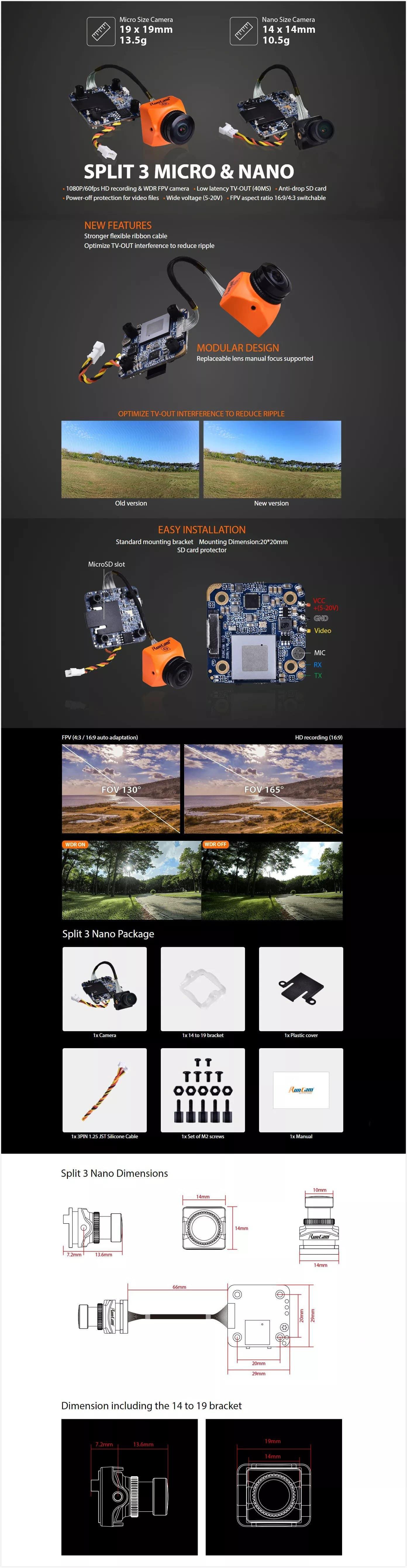 Runcam Split 3 (Nano/Micro) 1080p Low Latency FPV camera spec