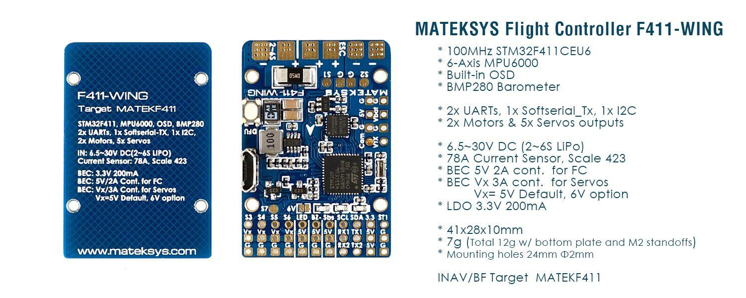 Matek FC F411-Wing for fpv planes and wings