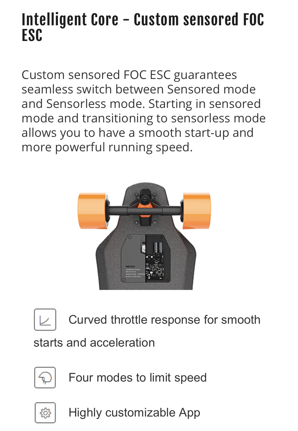 Exway X1 Longboard specs for the esc