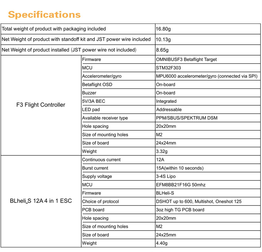 Specifications of the Emax Babyhawk F3 Magnum Stack