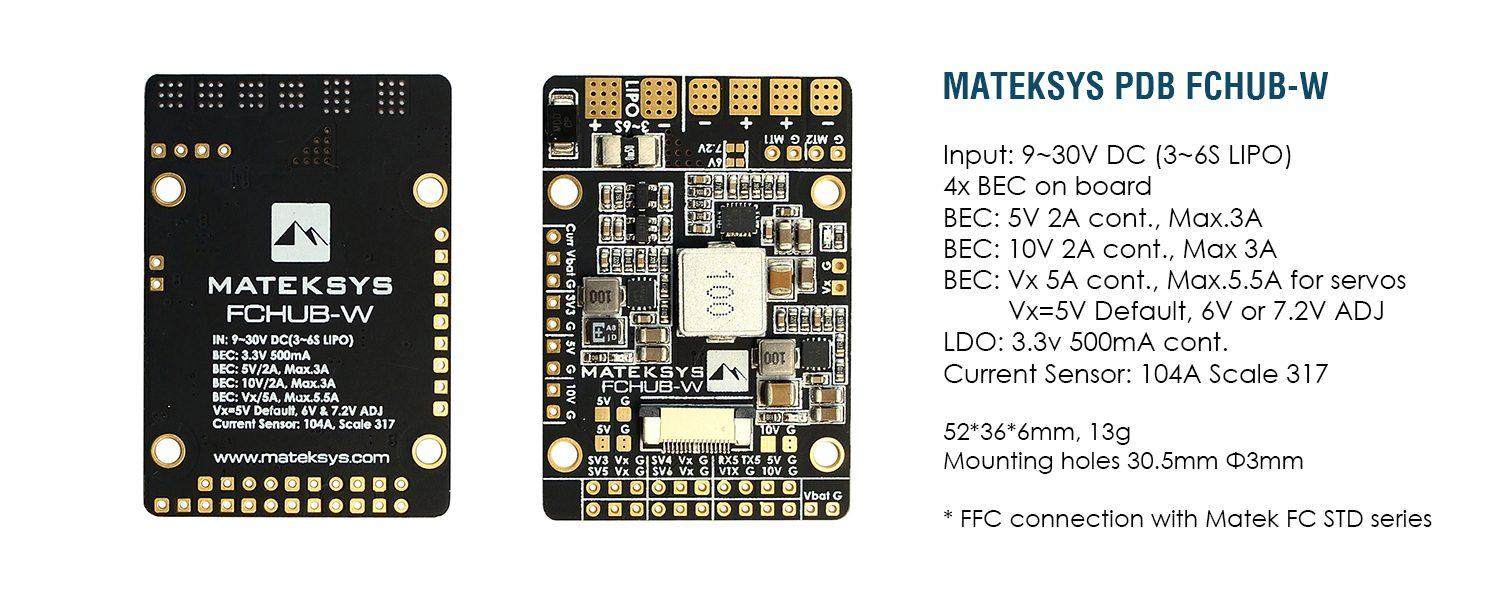 Matek FCHUB-W for wings flight controller