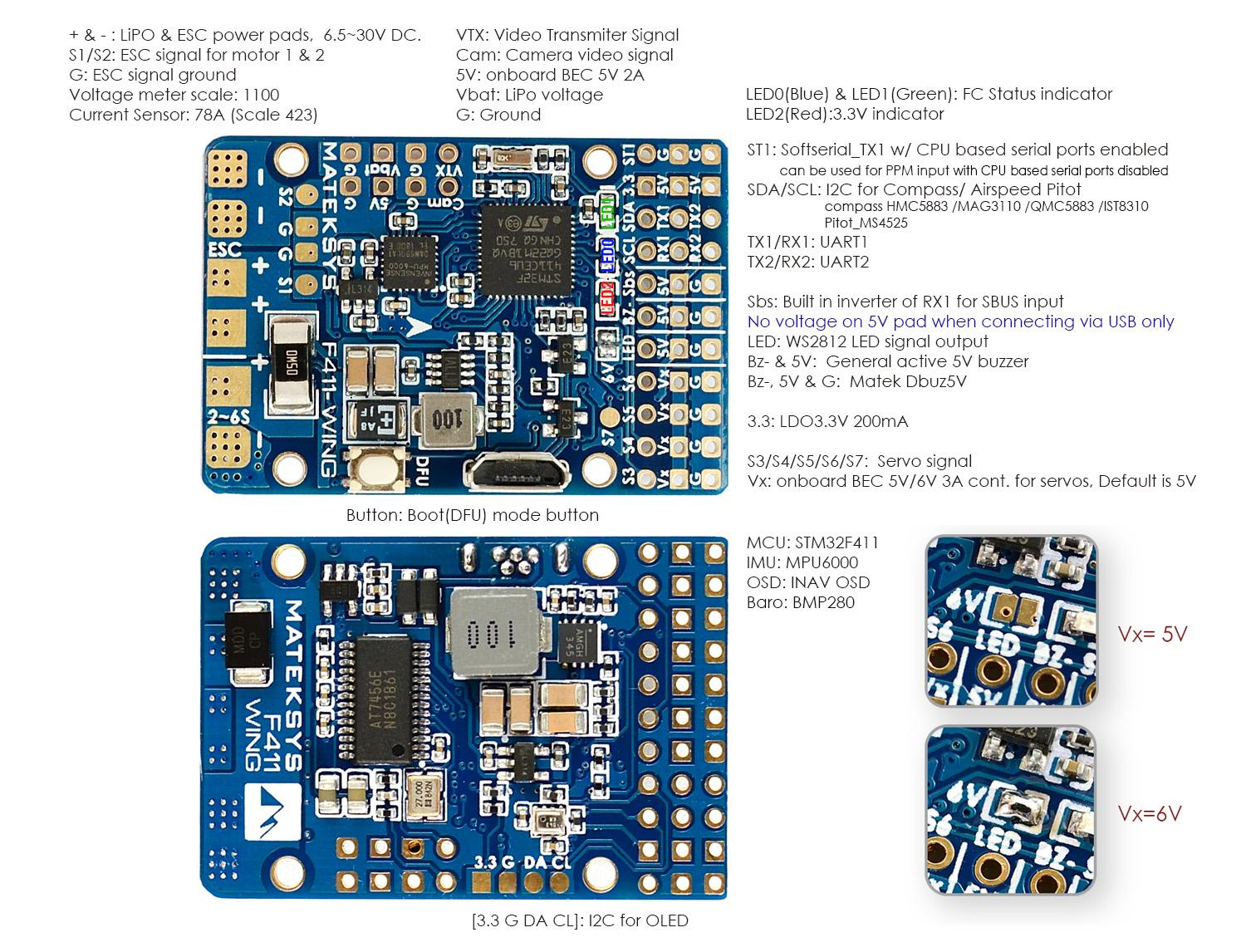 Outputs for the F411 wing fc