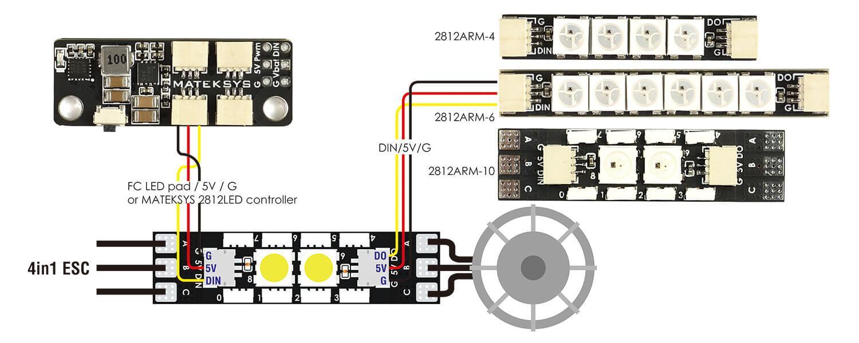 Matek 2812ARM Light 10LED W/ Motor Wire