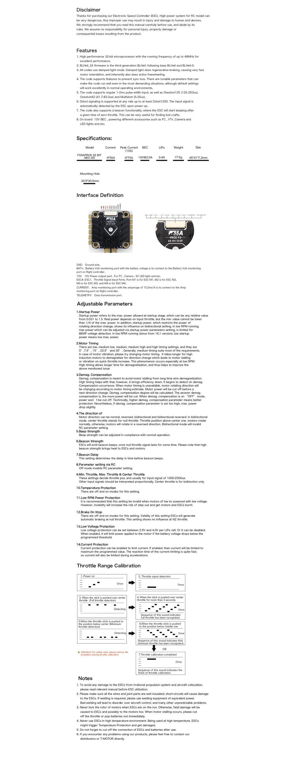 Specs of the Motor F55 4 IN 1 ESC