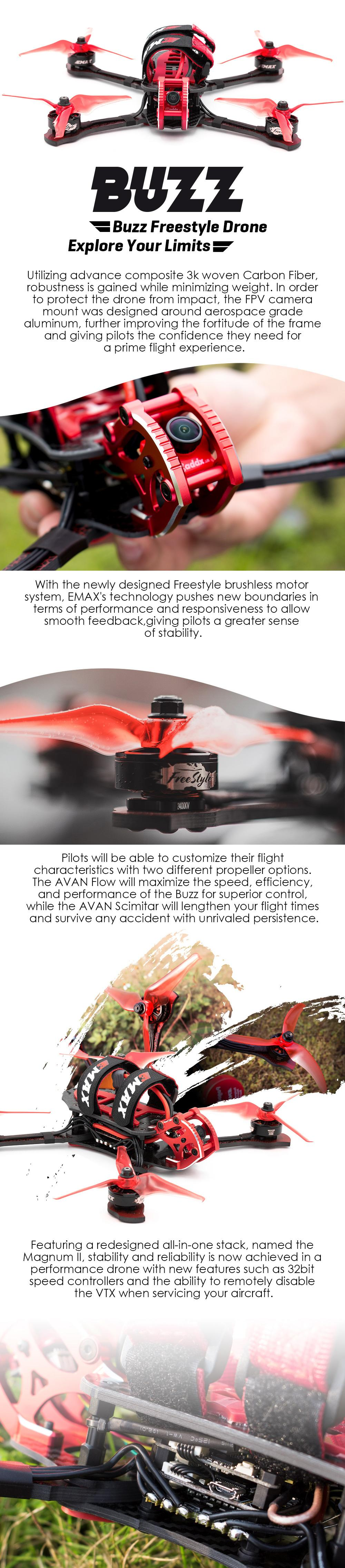 "EMAX BUZZ 5"" 1700Kv/2400Kv PNP Freestyle Drone  information"